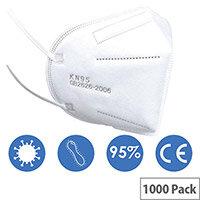 KN95 FFP2 Filter Respirator Face Mask (GB2626-2006) Pack of 1000 Ref: KN95FFP2-1000