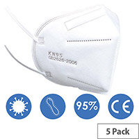 KN95 FFP2 Filter Respirator Face Mask (GB2626-2006) Pack of 5 Ref:KN95FFP2-5