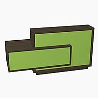 Foro Modern Design Reception Desk With High Gloss Vibrant Green Front and Chestnut Carcass & Right Low Level Section W2100mmxD800mmxH1100mm