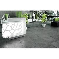 Organic Modern Illuminated White Straight Reception Desk with Right Decorative Element W1300mmxD770mmxH1105mm