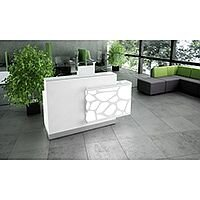 Organic Modern Illuminated White Straight Reception Desk with Left Decorative Element W1700mmxD770mmxH1105mm