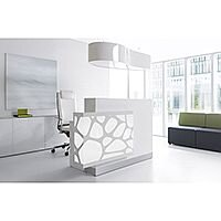 Organic Modern Illuminated White Straight Reception Desk with Right Decorative Element W1700mmxD770mmxH1105mm