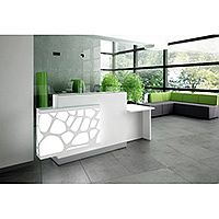 Organic Modern Illuminated Straight White Reception Desk with Right Decorative Element & Left Low Counter Top W2400mmxD770mmxH1105mm