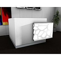 Organic Modern Illuminated White Corner Reception Desk with Left Decorative Element W1700mmxD1770mmxH1105mm