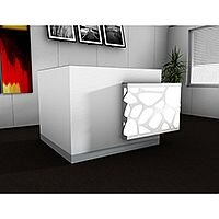 Organic Modern Illuminated White Corner Reception Desk with Left Decorative Element W1700mmxD1370mmxH1105mm