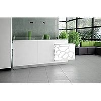 Organic Modern Illuminated White Straight Reception Desk with Left Decorative Element W2700mmxD700mmxH1105mm