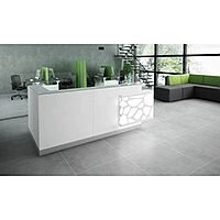 Organic Modern Illuminated White Corner Reception Desk with Left Decorative Element W2700mmxD1370mmxH1105mm