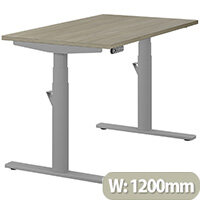 LEAP Electric Height Adjustable Rectangular Sit Stand Desk Plain Top W1200xD700xH620-1270mm Arctic Oak Top Silver Frame. Prevents & Reduces Muscle & Back Problems, Heart Risks & Increases Brain Activity.