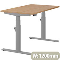 LEAP Electric Height Adjustable Rectangular Sit Stand Desk Plain Top W1200xD700xH620-1270mm Beech Top Silver Frame. Prevents & Reduces Muscle & Back Problems, Heart Risks & Increases Brain Activity.