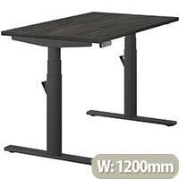 LEAP Electric Height Adjustable Rectangular Sit Stand Desk Plain Top W1200xD700xH620-1270mm Carbon Walnut Top Black Frame. Prevents & Reduces Muscle & Back Problems, Heart Risks & Increases Brain Activity.