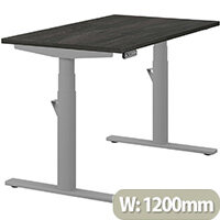 LEAP Electric Height Adjustable Rectangular Sit Stand Desk Plain Top W1200xD700xH620-1270mm Carbon Walnut Top Silver Frame. Prevents & Reduces Muscle & Back Problems, Heart Risks & Increases Brain Activity.