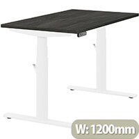 LEAP Electric Height Adjustable Rectangular Sit Stand Desk Plain Top W1200xD700xH620-1270mm Carbon Walnut Top White Frame. Prevents & Reduces Muscle & Back Problems, Heart Risks & Increases Brain Activity.