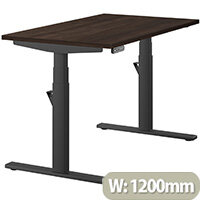 LEAP Electric Height Adjustable Rectangular Sit Stand Desk Plain Top W1200xD700xH620-1270mm Dark Walnut Top Black Frame. Prevents & Reduces Muscle & Back Problems, Heart Risks & Increases Brain Activity.