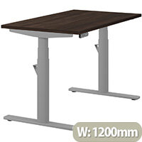 LEAP Electric Height Adjustable Rectangular Sit Stand Desk Plain Top W1200xD700xH620-1270mm Dark Walnut Top Silver Frame. Prevents & Reduces Muscle & Back Problems, Heart Risks & Increases Brain Activity.
