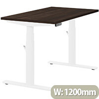 LEAP Electric Height Adjustable Rectangular Sit Stand Desk Plain Top W1200xD700xH620-1270mm Dark Walnut Top White Frame. Prevents & Reduces Muscle & Back Problems, Heart Risks & Increases Brain Activity.