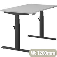 LEAP Electric Height Adjustable Rectangular Sit Stand Desk Plain Top W1200xD700xH620-1270mm Grey Top Black Frame. Prevents & Reduces Muscle & Back Problems, Heart Risks & Increases Brain Activity.
