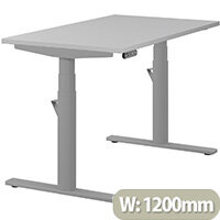 LEAP Electric Height Adjustable Rectangular Sit Stand Desk Plain Top W1200xD700xH620-1270mm Grey Top Silver Frame. Prevents & Reduces Muscle & Back Problems, Heart Risks & Increases Brain Activity.