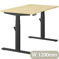 LEAP Electric Height Adjustable Rectangular Sit Stand Desk Plain Top W1200xD700xH620-1270mm Maple Top Black Frame. Prevents & Reduces Muscle & Back Problems, Heart Risks & Increases Brain Activity.