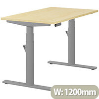 LEAP Electric Height Adjustable Rectangular Sit Stand Desk Plain Top W1200xD700xH620-1270mm Maple Top Silver Frame. Prevents & Reduces Muscle & Back Problems, Heart Risks & Increases Brain Activity.