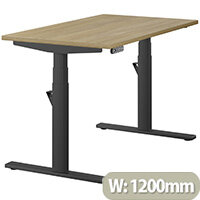 LEAP Electric Height Adjustable Rectangular Sit Stand Desk Plain Top W1200xD700xH620-1270mm Urban Oak Top Black Frame. Prevents & Reduces Muscle & Back Problems, Heart Risks & Increases Brain Activity.