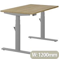 LEAP Electric Height Adjustable Rectangular Sit Stand Desk Plain Top W1200xD700xH620-1270mm Urban Oak Top Silver Frame. Prevents & Reduces Muscle & Back Problems, Heart Risks & Increases Brain Activity.