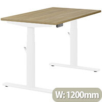 LEAP Electric Height Adjustable Rectangular Sit Stand Desk Plain Top W1200xD700xH620-1270mm Urban Oak Top White Frame. Prevents & Reduces Muscle & Back Problems, Heart Risks & Increases Brain Activity.