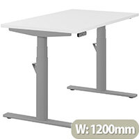 LEAP Electric Height Adjustable Rectangular Sit Stand Desk Plain Top W1200xD700xH620-1270mm White Top Silver Frame. Prevents & Reduces Muscle & Back Problems, Heart Risks & Increases Brain Activity.
