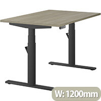 LEAP Electric Height Adjustable Rectangular Sit Stand Desk Plain Top W1200xD800xH620-1270mm Arctic Oak Top Black Frame. Prevents & Reduces Muscle & Back Problems, Heart Risks & Increases Brain Activity.