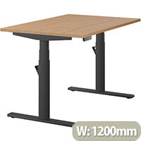 LEAP Electric Height Adjustable Rectangular Sit Stand Desk Plain Top W1200xD800xH620-1270mm Beech Top Black Frame. Prevents & Reduces Muscle & Back Problems, Heart Risks & Increases Brain Activity.