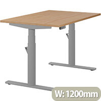 LEAP Electric Height Adjustable Rectangular Sit Stand Desk Plain Top W1200xD800xH620-1270mm Beech Top Silver Frame. Prevents & Reduces Muscle & Back Problems, Heart Risks & Increases Brain Activity.