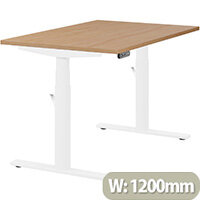 LEAP Electric Height Adjustable Rectangular Sit Stand Desk Plain Top W1200xD800xH620-1270mm Beech Top White Frame. Prevents & Reduces Muscle & Back Problems, Heart Risks & Increases Brain Activity.