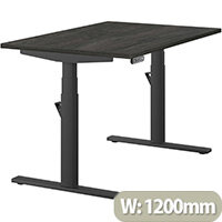 LEAP Electric Height Adjustable Rectangular Sit Stand Desk Plain Top W1200xD800xH620-1270mm Carbon Walnut Top Black Frame. Prevents & Reduces Muscle & Back Problems, Heart Risks & Increases Brain Activity.