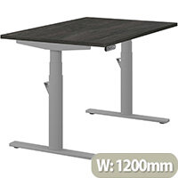 LEAP Electric Height Adjustable Rectangular Sit Stand Desk Plain Top W1200xD800xH620-1270mm Carbon Walnut Top Silver Frame. Prevents & Reduces Muscle & Back Problems, Heart Risks & Increases Brain Activity.