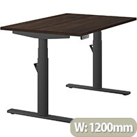 LEAP Electric Height Adjustable Rectangular Sit Stand Desk Plain Top W1200xD800xH620-1270mm Dark Walnut Top Black Frame. Prevents & Reduces Muscle & Back Problems, Heart Risks & Increases Brain Activity.