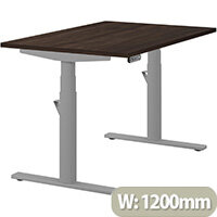 LEAP Electric Height Adjustable Rectangular Sit Stand Desk Plain Top W1200xD800xH620-1270mm Dark Walnut Top Silver Frame. Prevents & Reduces Muscle & Back Problems, Heart Risks & Increases Brain Activity.