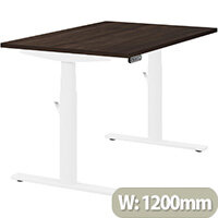 LEAP Electric Height Adjustable Rectangular Sit Stand Desk Plain Top W1200xD800xH620-1270mm Dark Walnut Top White Frame. Prevents & Reduces Muscle & Back Problems, Heart Risks & Increases Brain Activity.