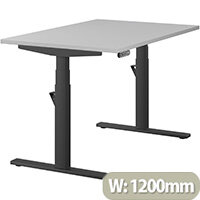 LEAP Electric Height Adjustable Rectangular Sit Stand Desk Plain Top W1200xD800xH620-1270mm Grey Top Black Frame. Prevents & Reduces Muscle & Back Problems, Heart Risks & Increases Brain Activity.