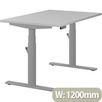 LEAP Electric Height Adjustable Rectangular Sit Stand Desk Plain Top W1200xD800xH620-1270mm Grey Top Silver Frame. Prevents & Reduces Muscle & Back Problems, Heart Risks & Increases Brain Activity.