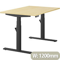 LEAP Electric Height Adjustable Rectangular Sit Stand Desk Plain Top W1200xD800xH620-1270mm Maple Top Black Frame. Prevents & Reduces Muscle & Back Problems, Heart Risks & Increases Brain Activity.
