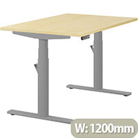LEAP Electric Height Adjustable Rectangular Sit Stand Desk Plain Top W1200xD800xH620-1270mm Maple Top Silver Frame. Prevents & Reduces Muscle & Back Problems, Heart Risks & Increases Brain Activity.