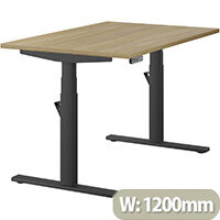LEAP Electric Height Adjustable Rectangular Sit Stand Desk Plain Top W1200xD800xH620-1270mm Urban Oak Top Black Frame. Prevents & Reduces Muscle & Back Problems, Heart Risks & Increases Brain Activity.
