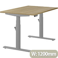 LEAP Electric Height Adjustable Rectangular Sit Stand Desk Plain Top W1200xD800xH620-1270mm Urban Oak Top Silver Frame. Prevents & Reduces Muscle & Back Problems, Heart Risks & Increases Brain Activity.