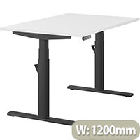 LEAP Electric Height Adjustable Rectangular Sit Stand Desk Plain Top W1200xD800xH620-1270mm White Top Black Frame. Prevents & Reduces Muscle & Back Problems, Heart Risks & Increases Brain Activity.