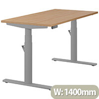 LEAP Electric Height Adjustable Rectangular Sit Stand Desk Plain Top W1400xD700xH620-1270mm Beech Top Silver Frame. Prevents & Reduces Muscle & Back Problems, Heart Risks & Increases Brain Activity.