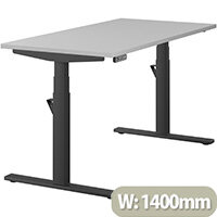 LEAP Electric Height Adjustable Rectangular Sit Stand Desk Plain Top W1400xD700xH620-1270mm Grey Top Black Frame. Prevents & Reduces Muscle & Back Problems, Heart Risks & Increases Brain Activity.