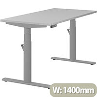 LEAP Electric Height Adjustable Rectangular Sit Stand Desk Plain Top W1400xD700xH620-1270mm Grey Top Silver Frame. Prevents & Reduces Muscle & Back Problems, Heart Risks & Increases Brain Activity.