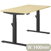 LEAP Electric Height Adjustable Rectangular Sit Stand Desk Plain Top W1400xD700xH620-1270mm Maple Top Black Frame. Prevents & Reduces Muscle & Back Problems, Heart Risks & Increases Brain Activity.