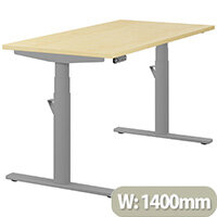 LEAP Electric Height Adjustable Rectangular Sit Stand Desk Plain Top W1400xD700xH620-1270mm Maple Top Silver Frame. Prevents & Reduces Muscle & Back Problems, Heart Risks & Increases Brain Activity.