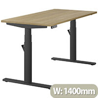 LEAP Electric Height Adjustable Rectangular Sit Stand Desk Plain Top W1400xD700xH620-1270mm Urban Oak Top Black Frame. Prevents & Reduces Muscle & Back Problems, Heart Risks & Increases Brain Activity.