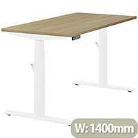 LEAP Electric Height Adjustable Rectangular Sit Stand Desk Plain Top W1400xD700xH620-1270mm Urban Oak Top White Frame. Prevents & Reduces Muscle & Back Problems, Heart Risks & Increases Brain Activity.